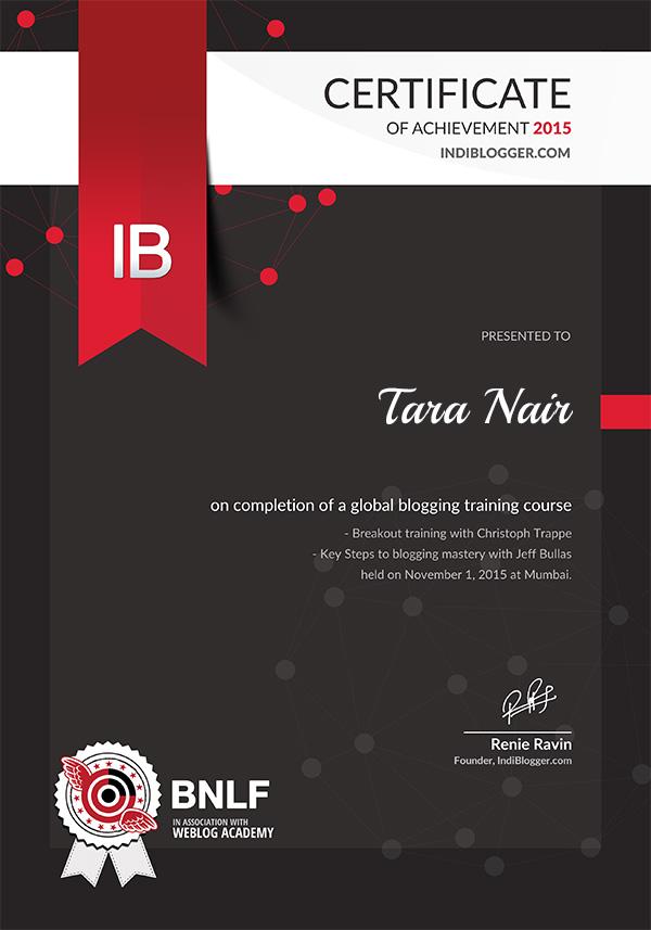 WeBlogAcademy BNLF Certificate