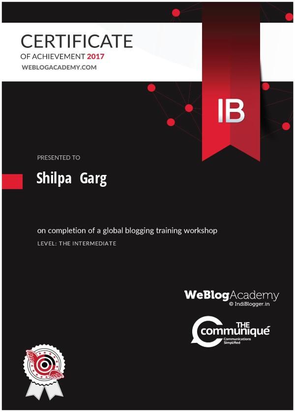 WeBlogAcademy Workshop Certificate