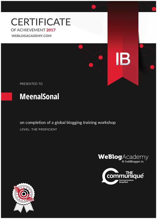 WeBlogAcademy Workshop Certificate