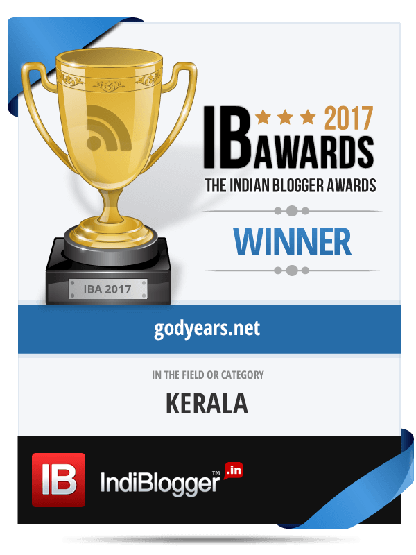 Godyears was the Winner of The Indian Blogger Awards 2017 - Best Blog from Kerala